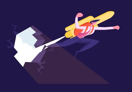 Overcoming Business Difficulties Concept. Cheerful Businessman Punch Through Rock Wall with Jet Pack on Back. Male Office Worker Flying by Rocket to Career Boost. Cartoon Flat Vector Illustration