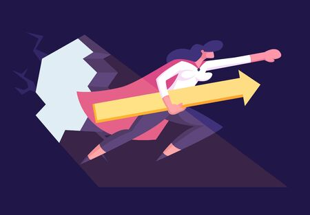 Businesswoman in Super Hero Cloak with Arrow in Hand Breaking Wall Hitting Barrier Light Fall through Hole on Floor. Start Up, Investments Growth and Working Success. Cartoon Flat Vector Illustration 向量圖像