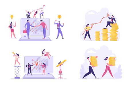 Set of Businesspeople Worldwide Communication and Profit Growth. Male and Female Characters Increasing Money Capital, Using Internet Technologies in Seo Management. Cartoon Flat Vector Illustration Çizim