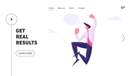 Winner Business Man Celebrating Victory Website Landing Page. Happy Manager Jump in Air with Yeah Gesturing and Empty Speech Bubble. Successful Worker Web Page Banner. Cartoon Flat Vector Illustration