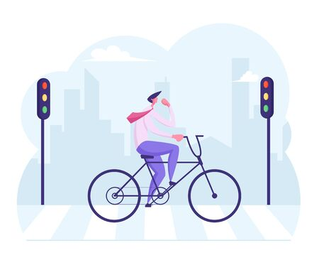 Businessman Commuter with Bicycle Traveling to Work in City. Side View Business Man Wearing Formal Suit Crossing Road by Crosswalk with Zebra Markup and Street Lights. Cartoon Flat Vector Illustration