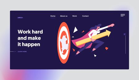Working Success Website Landing Page. Businesswoman in Super Hero Cloak with Arrow in Hand Breaking Target Hitting Barrier for Career Goal Achievement Web Page Banner. Cartoon Flat Vector Illustration Ilustrace