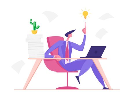 Creative Businessman Having Good Idea. Business Man Sitting at Table with Much Work Pointing on Glowing Light Bulb above of his Head. Overloaded Office Worker Insight Cartoon Flat Vector Illustration Stock Illustratie