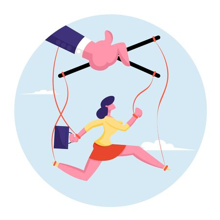 Businesswoman Holding Briefcase Hanging on Strings Like Marionette and Running to Office for Working. Huge Puppeteer Master Hand Controlling Puppet Woman Like Doll. Cartoon Flat Vector Illustration Illusztráció