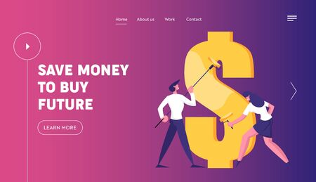 Economy and Finance Success Website Landing Page. Business Man and Woman with Rollers Drawing Huge Dollar Sign with Gold Paint. Commerce Money Profit Web Page Banner. Cartoon Flat Vector Illustration