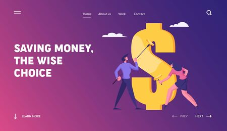 Financial Independence, Creation of Capital and Wealth Website Landing Page. Businesspeople with Rollers Painting Huge Dollar Sign with Gold Dye Web Page Banner. Cartoon Flat Vector Illustration