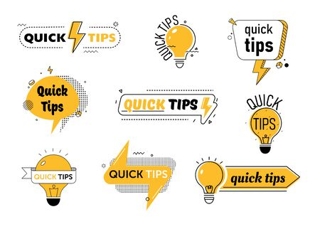 Quick Tips Set for Website or Blog Post. Helpful Tricks with Useful Information, Solution, Advice. Yellow Speech Bubble with Text Inscription and Light Bulb Cartoon Flat Vector Illustration, Line Art