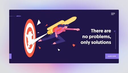 Goal Achievement Website Landing Page. Girl with Rocket on Back Reach New Level of Development Career Boost. Business Woman Punch Through Huge Target Web Page Banner. Cartoon Flat Vector Illustration