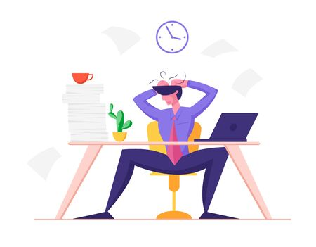 Burned Down Businessman in Depression Sitting at Office Desk with Heap of Paper Documents and Laptop Tearing Hair on Head Overloaded Worker Stress and Deadline Concept Cartoon Flat Vector Illustration Ilustração