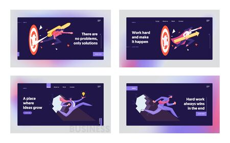 Developing of New Strategies, Career Boost Website Landing Page Set. Businesspeople with Jetpack Punch Through Hole in Wall, Huge Target. Goal Achieve Web Page Banner. Cartoon Flat Vector Illustration