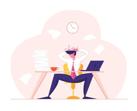 Business Failure Stress Tiredness and Frustration Concept. Tired Stressed Worker Sitting in Office Holding Head in Hands Tearing Hair Tired of Work and Exhausted. Cartoon Flat Vector Illustration