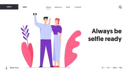 Family Memory Sweet Moments Website Landing Page. Young Happy Couple Making Selfie. Man Holding Smartphone Shooting Picture of himself with Girlfriend Web Page Banner. Cartoon Flat Vector Illustration