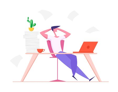 Lazy Office Worker with Hands behind of Head Sit in Office at Desk. Useless and Relaxing Man Doing Nothing or Taking Break from Work in Workstation Businessman Resting Cartoon Flat Vector Illustration