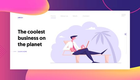 Freelancer or Distant Employee Summer Vacation Website Landing Page. Businessman Sitting on Daybed under Palm Trees on Tropical Beach Working on Laptop Web Page Banner Cartoon Flat Vector Illustration