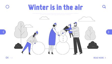 Happy Parents with Kids Making Snowman Website Landing Page. Father Hold Baby on Hands Put Bucket on Snowman Head. Daughter Rolling Snow Ball Web Page Banner Cartoon Flat Vector Illustration, Line Art