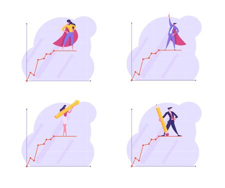 Set of Business People Stand on Top of Growing Business Chart Curve Line on Coordinate System. Growth Data Analysis Arrow Graph, Financial Profit Statistic Diagram. Cartoon Flat Vector Illustration Ilustrace