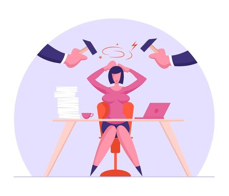 Deadline, Problem at Work Concept. Depressed and Stressed Businesswoman Sitting Under Beating Hammers Hiding Head. Overloaded Female Employee or Company Leader Stress Cartoon Flat Vector Illustration  イラスト・ベクター素材