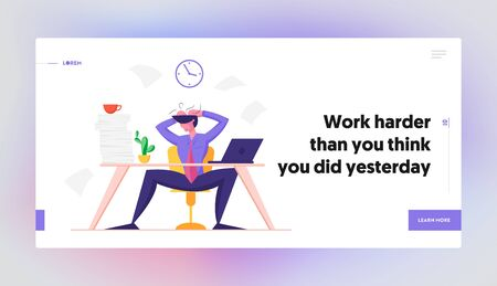Overloaded Worker Deadline Website Landing Page. Burned Down Businessman Sitting at Office Desk with Heap of Paper Documents Tearing Hair on Head Web Page Banner. Cartoon Flat Vector Illustration