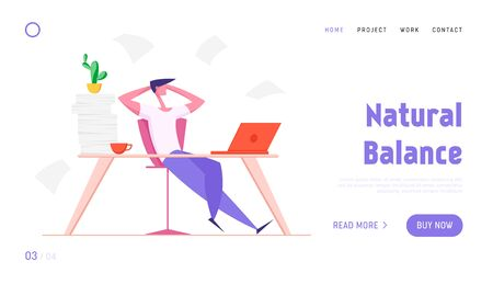 Businessman Resting Website Landing Page. Office Worker with Hands behind of Head Sit at Desk Doing Nothing or Taking Break from Work in Workstation Web Page Banner. Cartoon Flat Vector Illustration  イラスト・ベクター素材