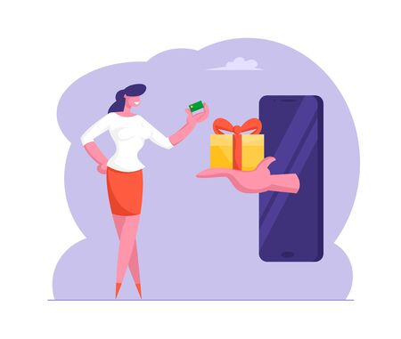 Huge Hand from Smartphone Screen Stretch Gift Box to Woman with Credit Card in Hand. Internet Bonus or Customer Loyalty Program Concept, Online Bonus Prize, Gambling Cartoon Flat Vector Illustration