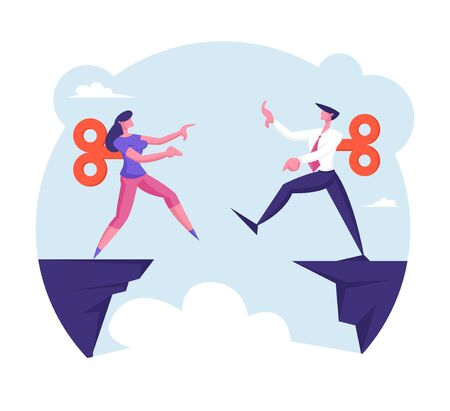 Businessman and Businesswoman with Clockwork Mechanism on Back Step into Abyss. Manipulation, Leap of Faith Concept with Business People Walk Off Cliff Searching Path Cartoon Flat Vector Illustration Illustration