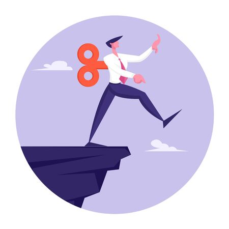 Crisis Management, Bankruptcy and Dept Concept. Puppet Businessman with Clockwork Mechanism on Back Take Step on Edge of Abyss. Business Man in Dangerous Situation. Cartoon Flat Vector Illustration