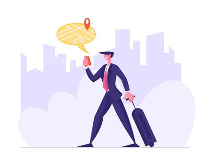 Businessman with Baggage Finding Right Place on Device Map for Travel or Tourism. Mobile Gps Navigation on Cellphone with Application. Smart Technologies Concept. Cartoon Flat Vector Illustration