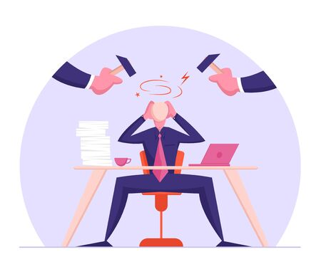 Office Worker Frustration, Career Burnout. Troubled Businessman Sitting at Desk Protecting Head From Punching Hammers with Hands. Headache from Difficult Task, Stress Cartoon Flat Vector Illustration
