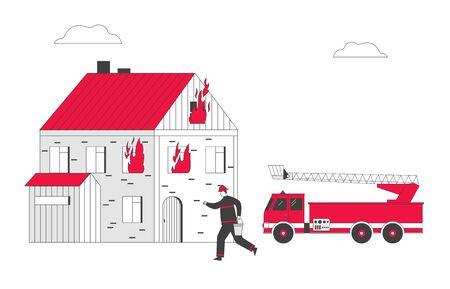 Pompier au camion de pompier transportant un seau avec de l'eau dans les mains pour arroser la maison en feu. Pompier prêt à combattre avec Blaze. Profession extrême emploi dessin animé plat Vector Illustration, dessin au trait