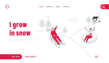 Christmas and New Year Holidays Wintertime Outdoors Activity and Spare Time Website Landing Page. Young Couple Sledding on Sledge and Tubing Web Page Banner. Cartoon Flat Vector Illustration, Line Art Illusztráció