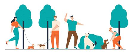 People Spending Time with Pets Outdoors. Male and Female Characters Walking and Training Dogs in Summer Park, Relaxing Leisure, Communication Love, Care of Animals. Cartoon Flat Vector Illustration