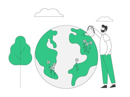 Happy Earth Day Holiday Celebration and Planet Care Concept. Environment Ecology Protection. Worldwide Global Event Nature Conservation. Man Watering Plants Cartoon Flat Vector Illustration, Line Art
