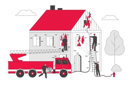 Firemen Fighting with Blaze Working as Team to Fight with Big Fire at Burning House, Male Characters in Uniform Spraying Water from Fire Fighter Truck Hose. Cartoon Flat Vector Illustration, Line Art