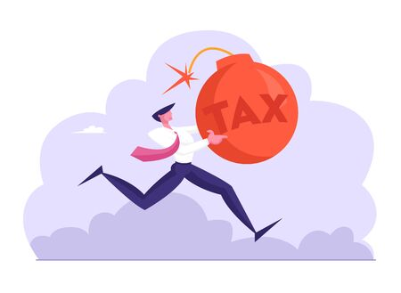 Shocked Running Businessman Holding Huge Red Bomb with Burning Fuse and Tax Inscription in Hands. Finance Problems, Taxation or Business Debt Metaphor. Money Crisis Cartoon Flat Vector Illustration Imagens - 131602566