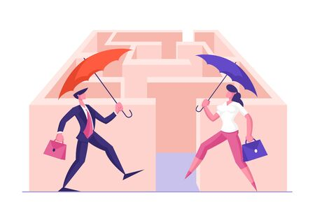 Business Solution and Risk Protection Concept. Couple of Businessman and Businesswoman Holding Umbrella and Briefcase Making Step into Labyrinth. Creative Decision Cartoon Flat Vector Illustration