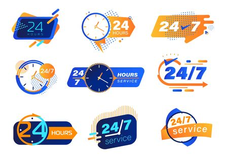 24-7 Service Icons Set. Buttons, Tags or Stickers with Clocks and Typography. Labels for Posters and Banners Design. All-time Maintenance Noctidial Customer Support and Assistance Vector Illustration