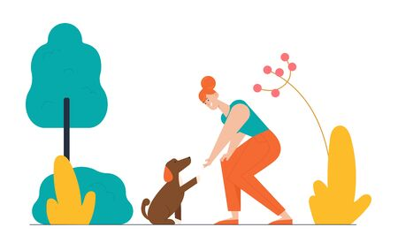 Happy Woman Playing with Dog on Street in Park Having Leisure. Female Character Spend Time with Domestic Animal