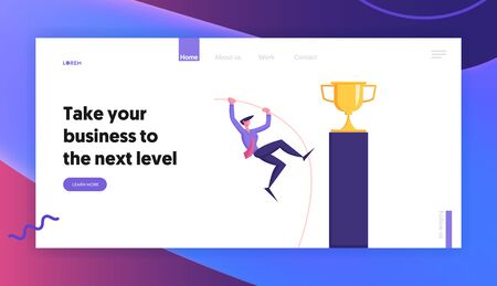 Goal Achievement Website Landing Page. Businessman Pole Vaulting Over Challenge Trying to Reach Golden Trophy Goblet Standing on Top of High Pedestal Web Page Banner. Cartoon Flat Vector Illustration 向量圖像