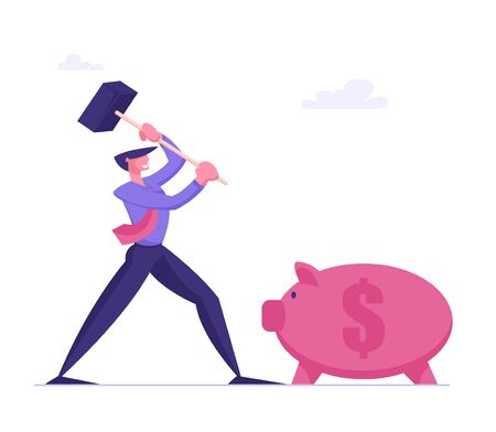 Money Saving Concept. Business Man Character Hitting Piggy Bank with Hammer going to Take Coins from Moneybox
