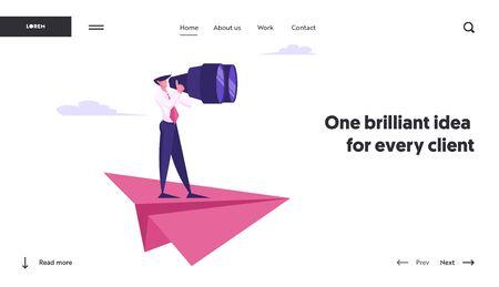 Página de inicio del sitio web de la visión de la estrategia de planificación futura del hombre de negocios. Hombre parado en un enorme avión de papel mirando con binoculares