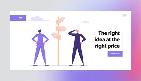 Difficult Choice Website Landing Page. Businessmen Stand at Crossroad Looking Directional Signs Arrows Making Important Decision for Success Profit Web Page Banner. Cartoon Flat Vector Illustration
