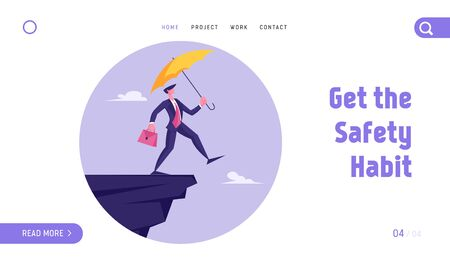 Crisis Protection Website Landing Page. Businessman Leap of Faith. Presumptuous Business Man Walking Off Cliff with Yellow Umbrella and Suitcase Web Page Banner. Cartoon Flat Vector Illustration 矢量图像