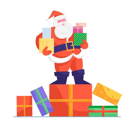 Santa Claus in Red Costume and Hat Stand on Huge Gift Box Holding Presents in Hands Isolated on White Background. Merry Christmas Happy New Year Greeting Card Element Cartoon Flat Vector Illustration