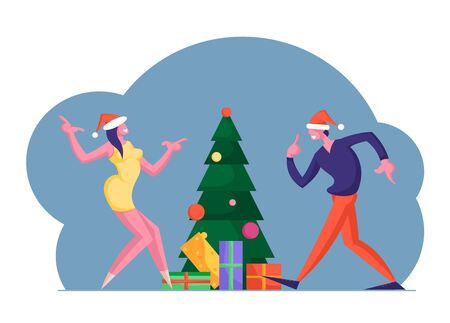 New Year or Christmas Celebration at Work or Home. Happy Colleague Man and Woman Business People Dancing at Decorated Xmas Tree with Gifts Having Fun in Office Party. Cartoon Flat Vector Illustration Illustration