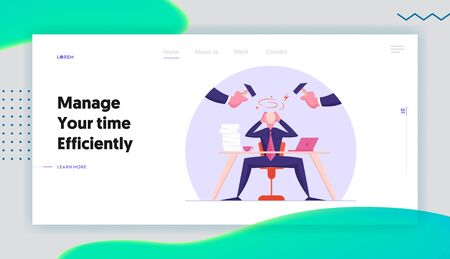 Office Worker Frustration, Career Burnout Website Landing Page. Troubled Businessman Sitting at Desk Protecting Head From Punching Hammers with Hands Web Page Banner. Cartoon Flat Vector Illustration