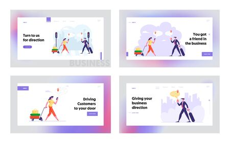 Businesspeople Use Navigation with Mobile App Website Website Landing Page Set. Web Page Banner. Travelers Use Map on Phone App Searching Route Location on Street Cartoon Flat Vector Illustration