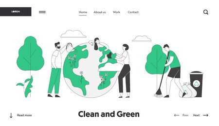 Save Our Planet Website Landing Page. People Prepare for Day of Earth Care of Plants, Sweeping Ground, Clean Trash to Recycling Litter Bins Web Page Banner. Cartoon Flat Vector Illustration, Line Art