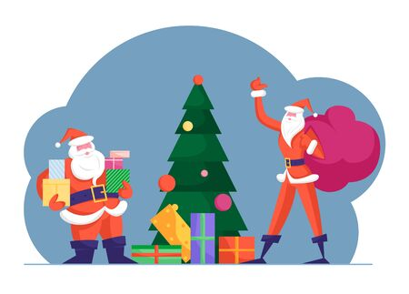 Fat and Slim Santa Clauses Delivering Presents at Christmas Night. Father Noel Carry Sack with Gifts Put to Decorated Xmas Tree with Ball on Top. New Year Tradition Cartoon Flat Vector Illustration
