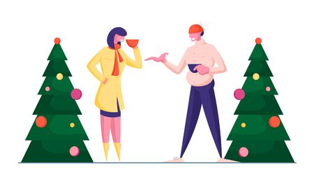 Couple of Man and Woman in Winter Clothing Having Warm Conversation Standing at Decorated Christmas Trees Drinking Hot Beverages. Xmas Market, Good Friends Meeting. Cartoon Flat Vector Illustration Reklamní fotografie - 132218986