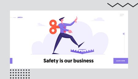 Searching Solution Website Landing Page. Businessman with Clockwork Key Mechanism on Back Step into Trap. Manipulated Business Man Problem Ignorance Web Page Banner. Cartoon Flat Vector Illustration